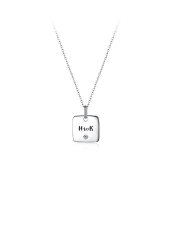 Glamorousky silver 925 Sterling Silver Simple English Characters Sqaure Pendant and Necklace 3AA26AC46E995FGS_1