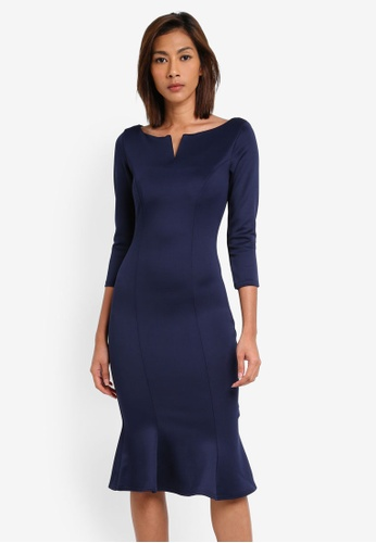 Goddiva navy Fluted Hem Dress GO975AA0SSCKMY_1