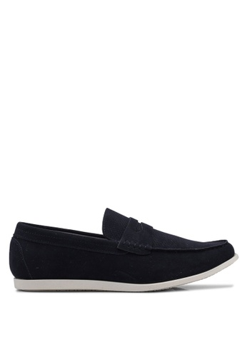Burton Menswear London navy Navy Leather Look Saddle Loafers A8229SH414660EGS_1