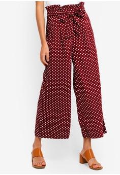 0d53583e43cd14 Miss Selfridge red Burgundy Spot Print Linen Paperbag Trousers  5B9AEAA8805C9EGS 1