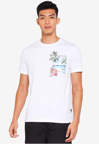 Burton Menswear London white White Printed Pocket T-Shirt 2E014AA73EA194GS_1