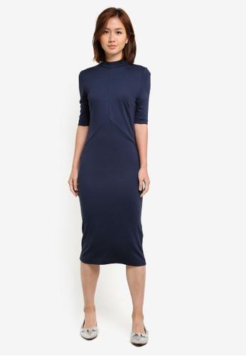 Selected Femme blue Elsie High Neck Dress SE157AA0S3XHMY_1