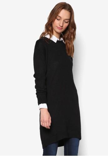 不對稱下擺羊毛長袖連身裙, 服esprit 童裝飾, 洋裝
