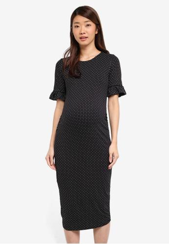 Dorothy Perkins black Maternity Geo Frill Bodycon Dress 88989AAEBB6279GS_1