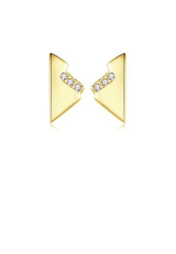 Glamorousky white 925 Sterling Silver Plated Gold Simple Personality Geometric Triangle Stud Earrings with Cubic Zirconia AB37AAC40934E3GS_1