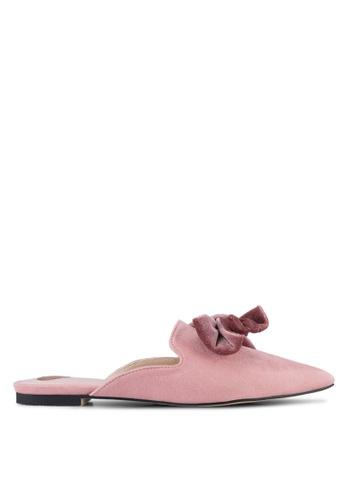 Velvet pink Bow Slip On Mules 1C16ESHEA4B87BGS_1