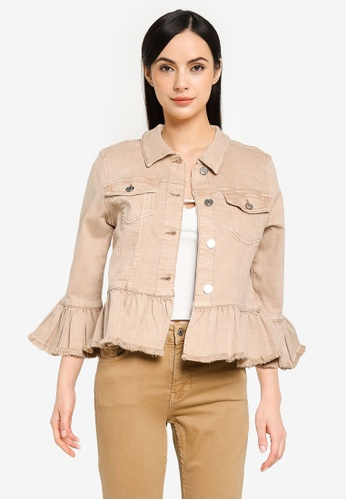 ONLY beige Sia Frill Jacket 27F02AA7D5EB37GS_1