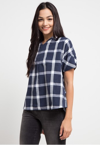 Lois Jeans multi and navy Plaid Blouse 86A04AA3D7844AGS_1