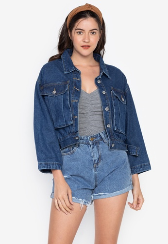 dc410ef0968 Spring Fling multi Oversized Denim Jacket With Oversized Front Pockets  B4F6AAA34124E2GS_1