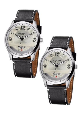 Eyki white Bundle 2 Units EYKI OVERFLY Date Subdial Carbon Man Leather Watch White W8533 EY078AC0RRKEMY_1