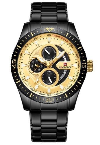 Naviforce gold Naviforce - Jam Tangan Pria - Black - Stainless Steel Bracelet - NF9140-A 421F4AC8870BF8GS_1