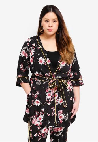 Only CARMAKOMA black Plus Size Printed Kimono 8928CAA07CA38AGS_1