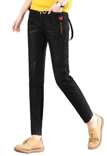 A-IN GIRLS black Elastic Waist Warm Jeans (Plus Cashmere) 3A70FAA398639EGS_1