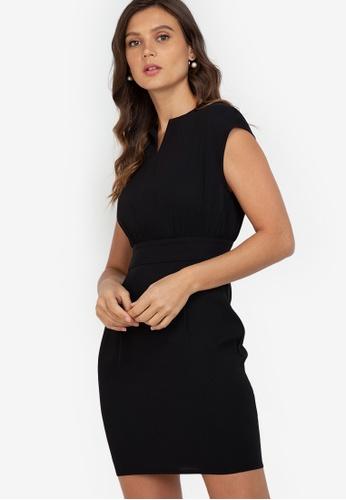 ZALORA WORK black Notch Neck Fitted Waist Dress 8841BAA9428463GS_1