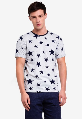 UniqTee grey Star Printed Short Sleeve T-shirt F327AAABDBA841GS_1