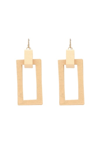 Saturation beige Wood Rectangle Drop Earrings 739CDAC37E34E0GS_1