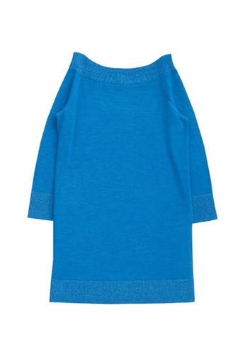 KLAPS blue Off Shoulder  Neckline Mini Dress 8B916AAFD29DA3GS_1