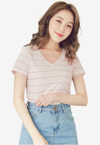 Eyescream pink V-Neck Stripe Top 91769AAF31EF4AGS_1