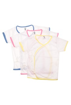 555-0 Tieside White Short Sleeves Baby Dress (Set of 6)