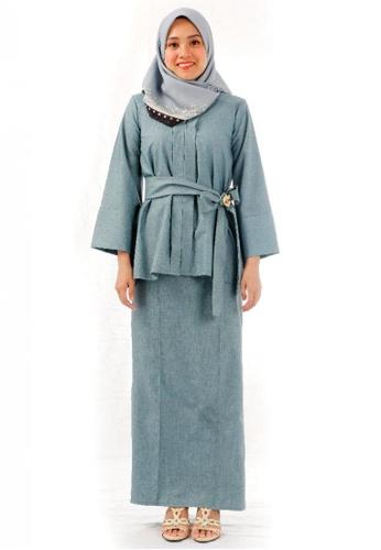 KAMDAR green Jannah Kebaya Kimono-Turquoise A7599AA67E7991GS_1