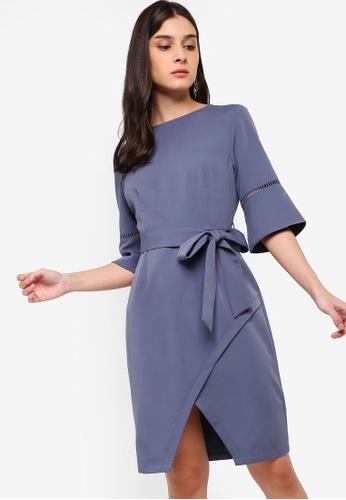 ZALORA blue Flare Sleeves Dress C3792AAA454D2FGS_1