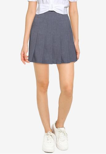 Urban Revivo 灰色 褶飾A-Line Skirt 3BA50AA33E70B4GS_1