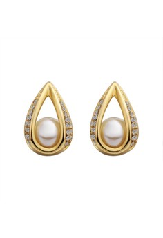 Treasure by B&D E426 Artificial Pearls Inlayed Oval Waterdrop Shape Stud Earrings