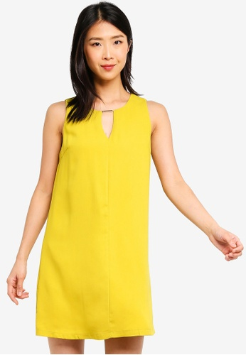 ZALORA BASICS yellow Basic Neck Details Shift Dress A42E3AADB6D5F4GS_1