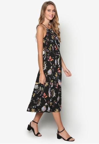 蝴蝶印花腰飾及膝洋裝,esprit 台中 服飾, 洋裝