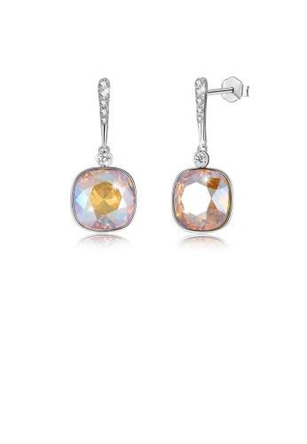 Glamorousky gold 925 Sterling Silver Elegant Fashion Simple Sparkling Golden Austrian Element Crystal Earrings 108ECAC046102BGS_1