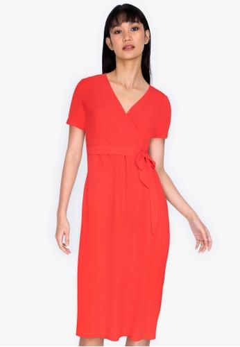 ZALORA BASICS orange V-Neck Midi Wrap Dress 50A29AA7613E55GS_1