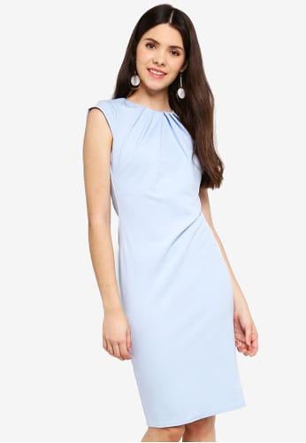 Goddiva blue Pleated Neckline Cap Sleeve Midi Dress 0FFC5AA16AFC22GS_1