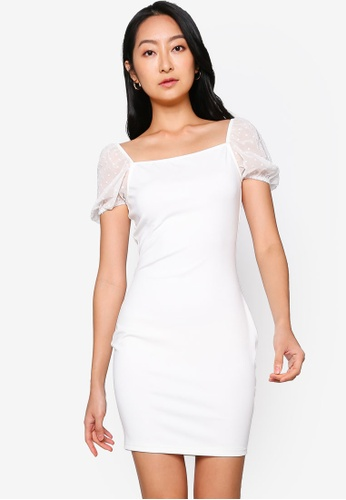 ZALORA BASICS white Organza Sleeve Dress C609EAA0E786DFGS_1