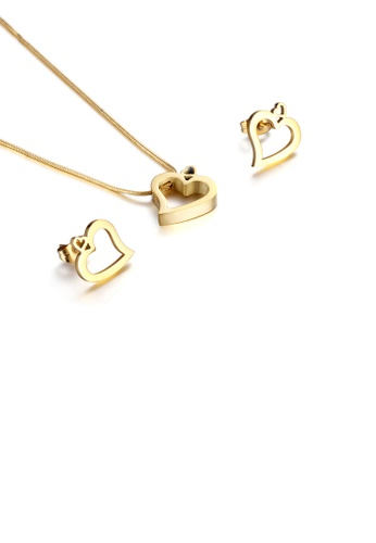 Glamorousky silver Fashion and Simple Plated Gold Hollow Heart-shaped 316L Stainless Steel Necklace and Stud Earrings Set CF213ACFCF0E36GS_1