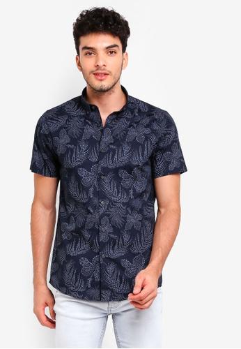 Burton Menswear London navy Navy Short Sleeve Dot Floral Shirt A123BAA3EB2A21GS_1