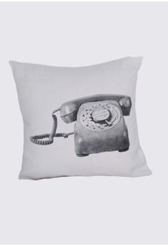 Vintage Telephone Print B Throw Pillow Case