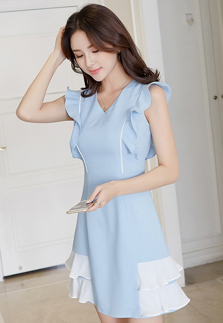 Blue Sleeveless Sunnydaysweety New One Light 2018 Dress A061216BL Blue Piece xgOvWz