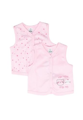 LC Waikiki pink 2-pack Baby Girl's Cotton Vest 83823KAE7AF38CGS_1