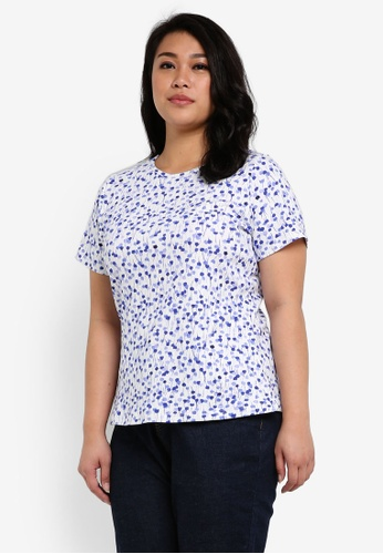 Ex'otico white Plus Size Short Sleeve Printed Top EX373AA0RUVUMY_1