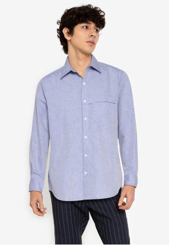 ZALORA BASICS blue Chest Strap Shirt 3CBF5AA66A03F1GS_1