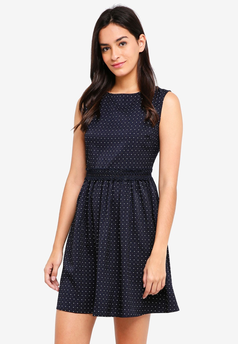 Navy Detail Dots Lace Flare And ZALORA Dress Fit Sleeveless Polka RB6qwxvP