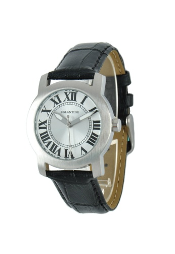 EGLANTINE silver EGLANTINE® Emily Ladies Steel Quartz Watch on Black Leather Strap 0817CAC0B065BBGS_1