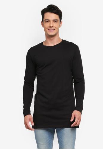 Factorie black Long Sleeve Tall Tee 9169BAAAF6D9E9GS_1
