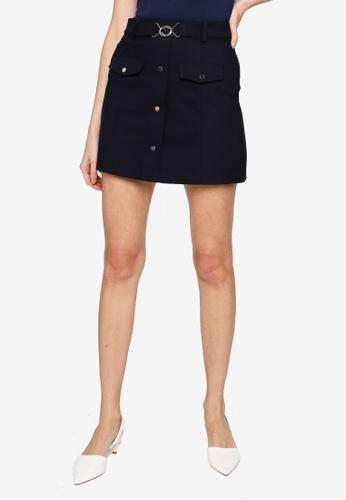 Hopeshow navy A-Line Mini Skirt with Rivet Buttons 0E733AA41A6AA6GS_1