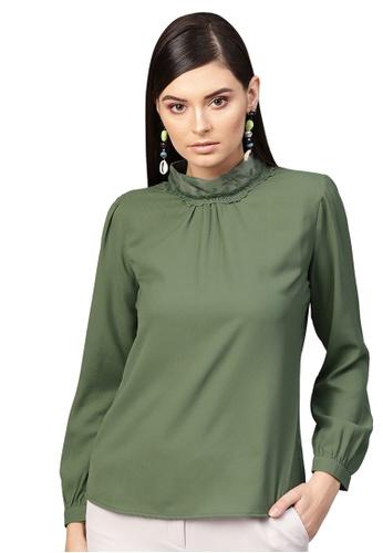 SASSAFRAS green Olive Lace On Neck Top B3DBFAAB9FD2CBGS_1
