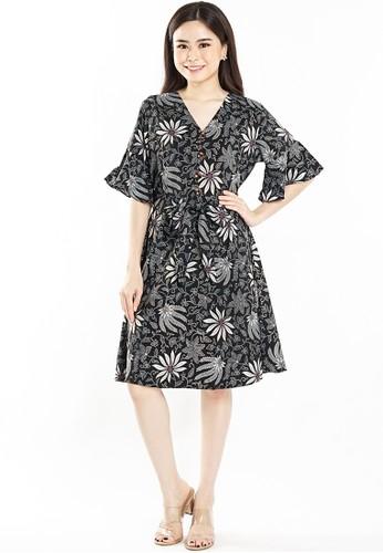Flike Batik multi Dress Anneke Motif Aster Hitam DD9E4AA971C014GS_1