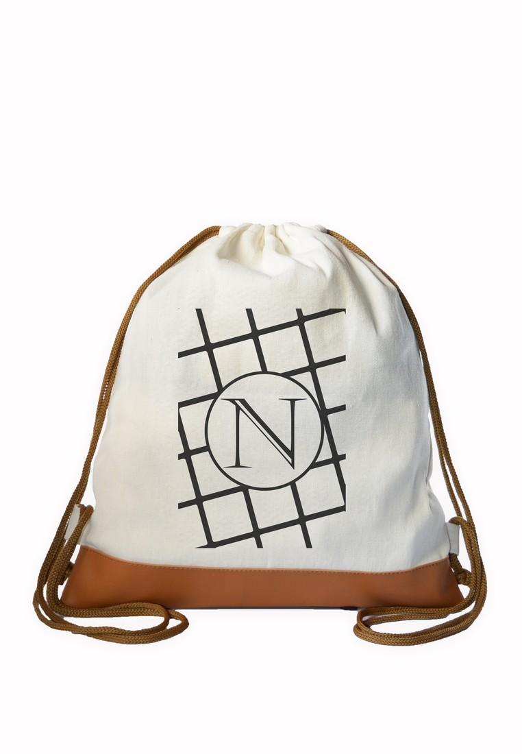 Drawstring Bag Minimalist Initial N