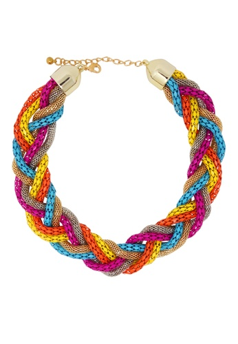 Jaysa Collection multi Stylish Multi-Color Choker Necklace with Vibrant Metal Laces JA875AC17YZUSG_1