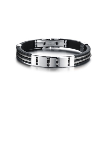 Glamorousky silver Fashion Personality Geometric 316L Stainless Steel Silicone Bracelet 58A7DACD6E052BGS_1