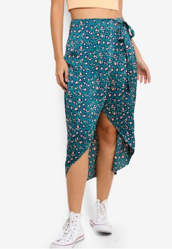 Something Borrowed 綠色 Printed Wrap Skirt EE815AA1C20FE2GS_1